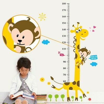 (PVC Children Growth Height Chart Measure Wall Stickers Animals Decal Mural Decor)
