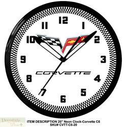 CORVETTE C6 FLAGS NEON CLOCK 20 Vette Wall Car Auto Made USA 1 Yr Warranty New