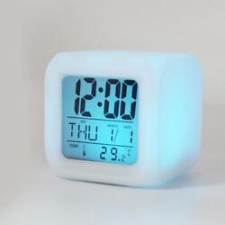 7 LED Color Change Digital Glowing Alarm Thermometer Clock Unique Design YU 282