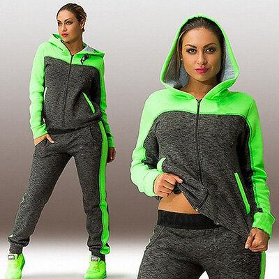 Women's Gym Zip Tracksuit Hoodies Sweatshirt Long Pant Sportswear 2Pcs Suit Set