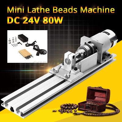 DC 24V 80W Mini Lathe Beads Machine Woodworking DIY Lathe Standard Set w/ Power