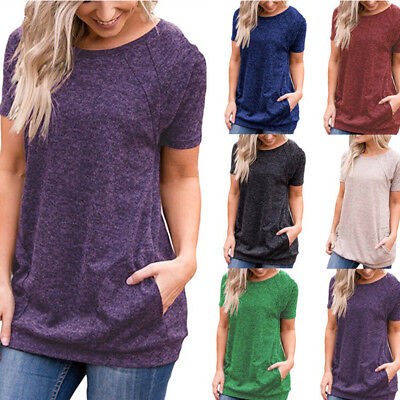 Short Sleeve Womens Blouse - Womens Tunic Tops Short Sleeve Round Neck Loose Tops Blouse T-Shirt with Pockets