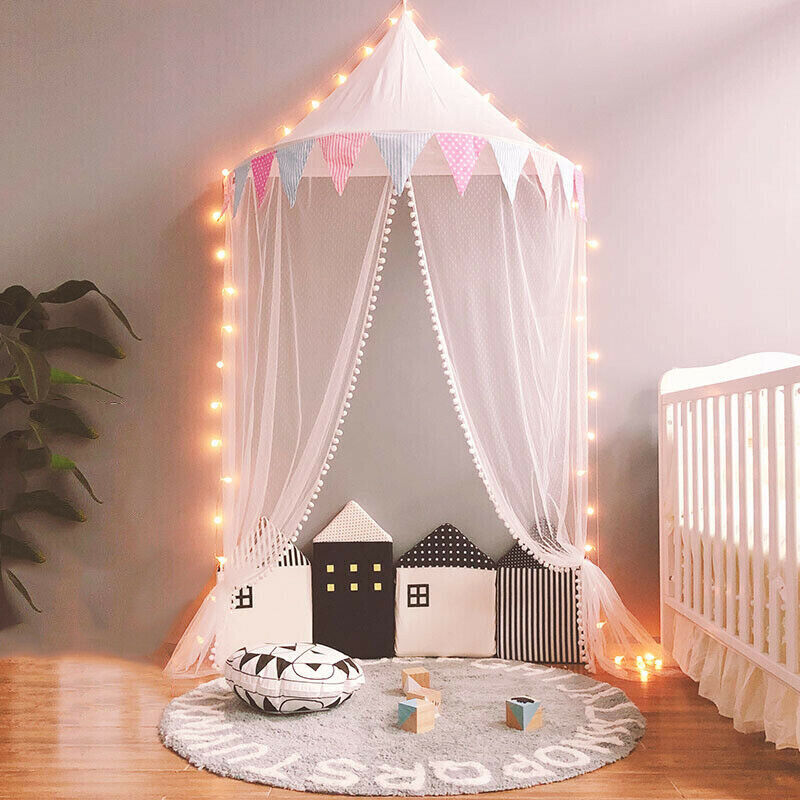 Lace Tent Bed Curtains Nursery Cot Decor Baby Cotton Girl Princess Pleat Canopy