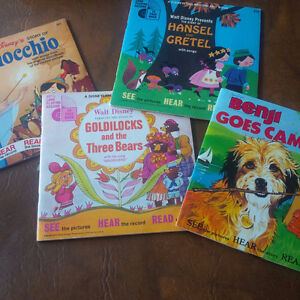 Four Read-Along Books and Records, 33 1/3 RPM