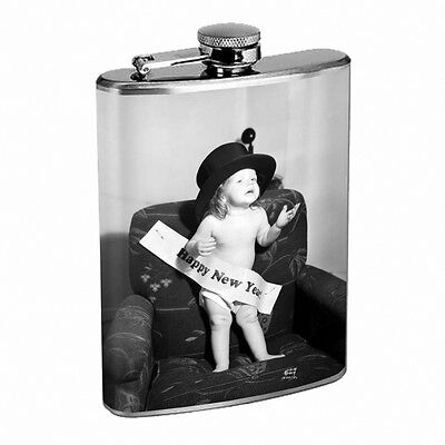 Vintage New Years Eve D11 Flask 8oz Stainless Steel Hip Drinking Whiskey - New Years Eve Drinks