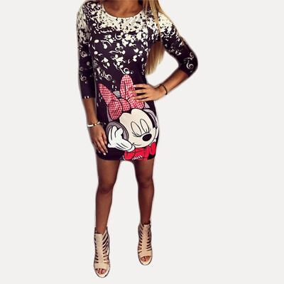 Three Quarter Sleeve Sexy Fitted Dress For Women Round Neck Mickey Mouse Graphic](Mickey Mouse Dress For Women)