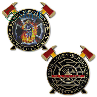 Firefighter A Thin Red Line Hero Challenge Coin FD Cross Axe Gift Collectible