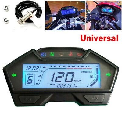 LCD Motorcycle Speedometer Odometer Tachometer RPM Speed Fuel Gauge Kph Mph Kits