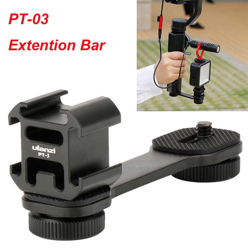 PT-3 Extention Bar Grip 3 Cold Shoe Mounts Bracket for Canon LED Microphone DSLR