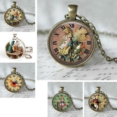 UK ALICE IN WONDERLAND PENDANT NECKLACE Glass Vintage Style Jewellery Gift Idea](Necklace Ideas)