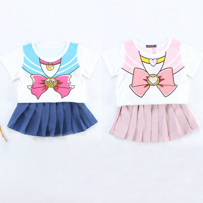 Kid Sailor Moon Uniform Girls Cosplay Costume T-shirt Skirt Children's Day - Kids Moon Costume