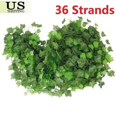 284FT 36 Strands Artificial Flowers Fake Hanging Ivy Vine Plant Leaves Garland