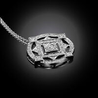DIAMOND NECKLACE COLLIER PENDENTIF DIAMANT EN OR 18K CHAINE INCL