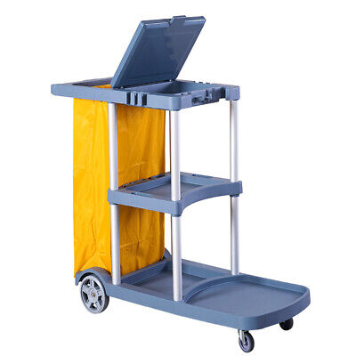 Commercial Cleaning Janitorial 3-shelf Cart With Yellow Bag And Cover Grey