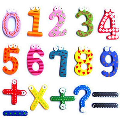15pcs Number 1-10 & 5 symbol Wooden Alphabet Fridge Magnet Child Educational Toy