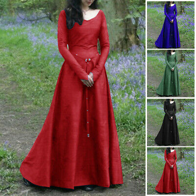 Vintage Women Medieval Victorian Dress Long Sleeve Ball Gown Renaissance - Renaissance Long Sleeve Kostüm