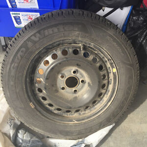 1 yr old winter tires with steel rims Prince George British Columbia image 1