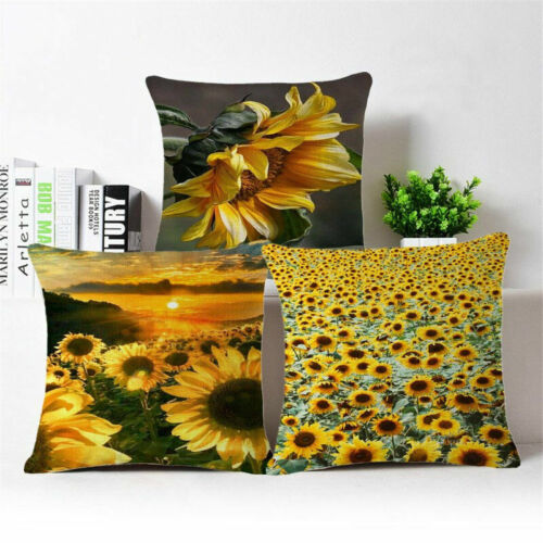 "18/"" Sunflower Printing Throw Pillow Case Cotton Linen Cushion Cover Home Decor"
