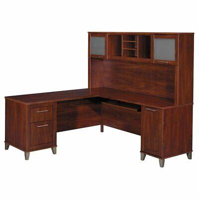 Scranton & Co 71W L Shaped Desk with Hutch in Hansen (Hansen Cherry Hutch)