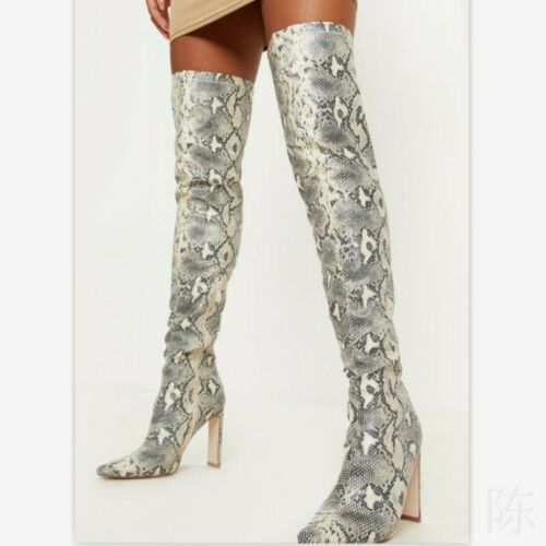 Women Over The Knee Thigh High Heel Shoes Snakeskin Print Stretch Calf Leg Boots
