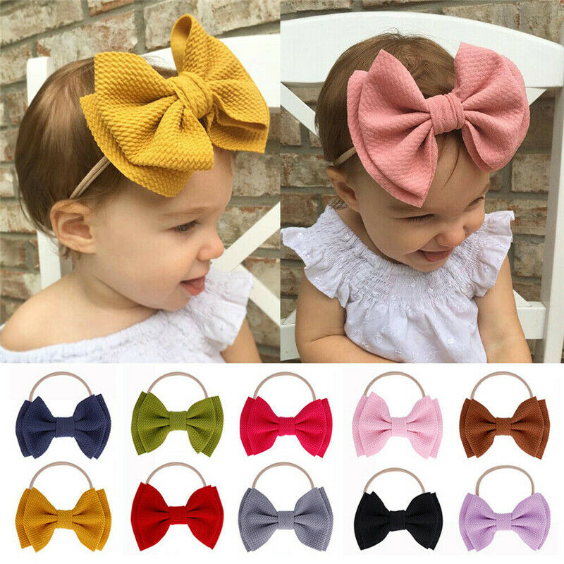 Newborn Bow Knot  Baby Elastic Headband  Nylon Hairband Headwear Girl Turban
