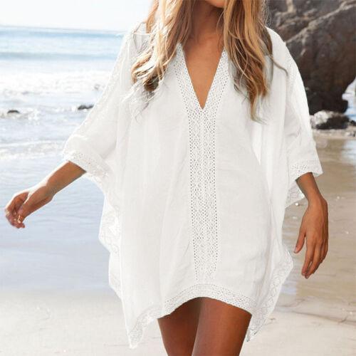 Damen Bikini Cover Up Kleid Sommerkleid Strandkleid Blusenkleid Longshirt Tunika