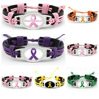 7 Style Pink ribbon breast cancer fighter Hand-woven leather bracelet 1PCS Breast Cancer Fashion Bracelet