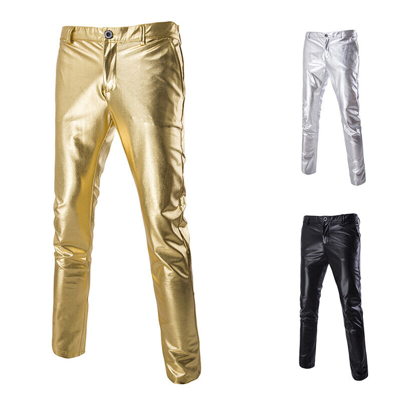 Mens Bright Color Metallic Casual Pants Night Club Hip Hop Straight Leg Trousers