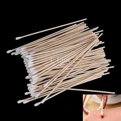"""Bulk of 100 Wood Stick Cotton Swabs Buds Cleaning Tool Medical Kit 6"""" Long"""