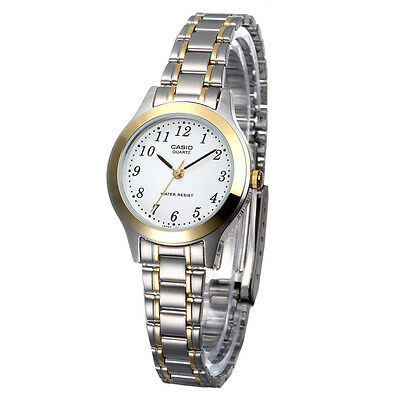 Casio LTP1128G-7B Ladies Two-Tone Stainless Steel Casual Dress Watch White (Ladies Two Tone White Dial)