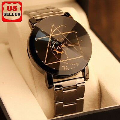 Fashion Luxury Men Women Compass Watch Stainless Steel Quartz Analog Wrist Watch (Womens Quartz Analog Watch)
