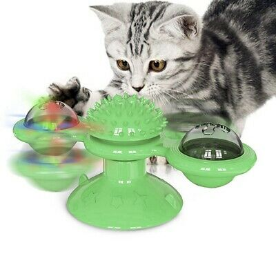Rotatable Cat Toy TPR Suction Cup Base Windmill Cat Chew Toy w/ Catnip LED Ball