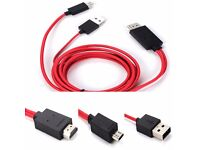 MHL Micro USB to HDMI 1080P HD TV Cable Adapter for Samsung Galaxy S4 S3 Note 2