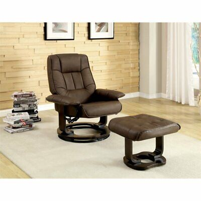 Furniture of America Whitby Swivel Leatherette Lounge Chair
