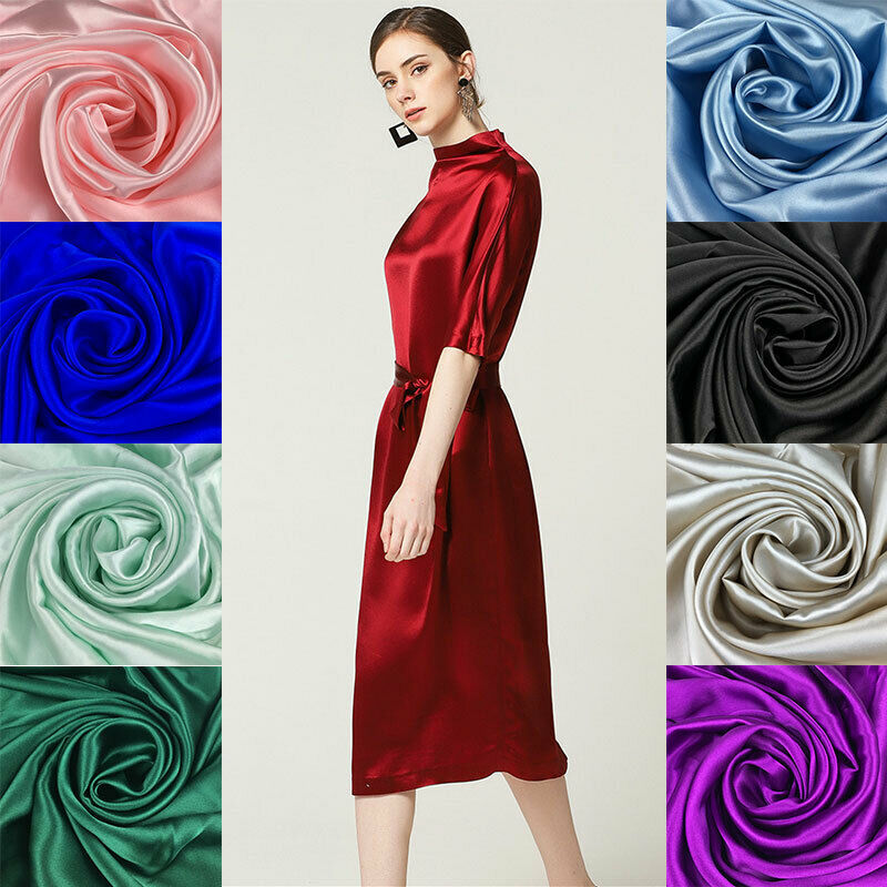 Details About 12 Colors 100 Mulberry Silk Crepe Satin Fabric Sewing Dress Clothing Cloth 1m