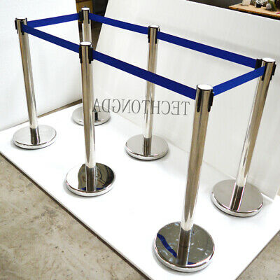Techtongda 6 Stanchion Posts Queue Pole Retractable Belt Crowd Control Safety