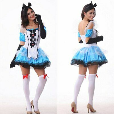 New Woman Sexy Alice Princess Cosplay Show cloth Fantasia Halloween Maid Costume (Fantasia Halloween Kostüm)