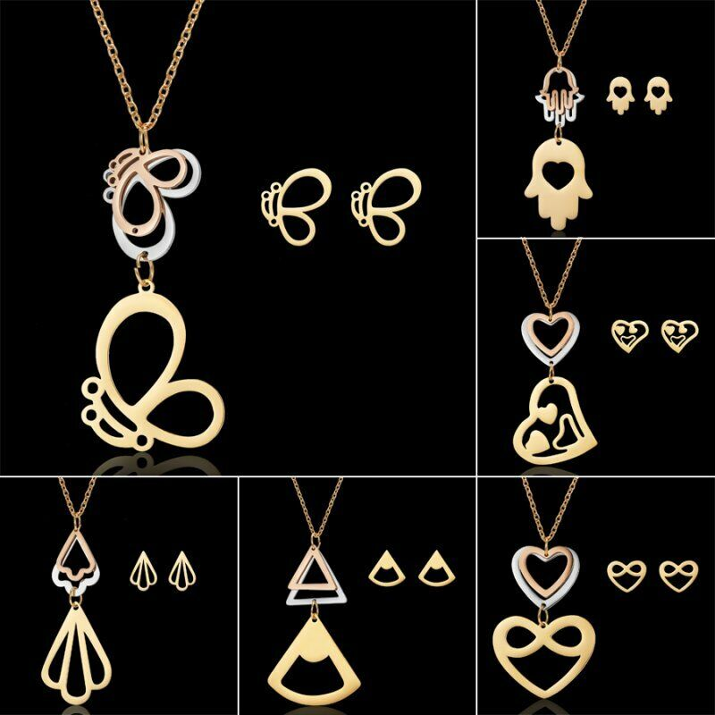 Fashion Gold Stainless Jewelry Sets Necklace Earrings Gift