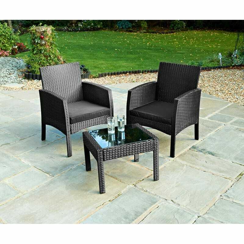 Garden Furniture - Rattan Armchair Bistro Set 2 Chairs & Table Garden Furniture Outdoor Patio Set