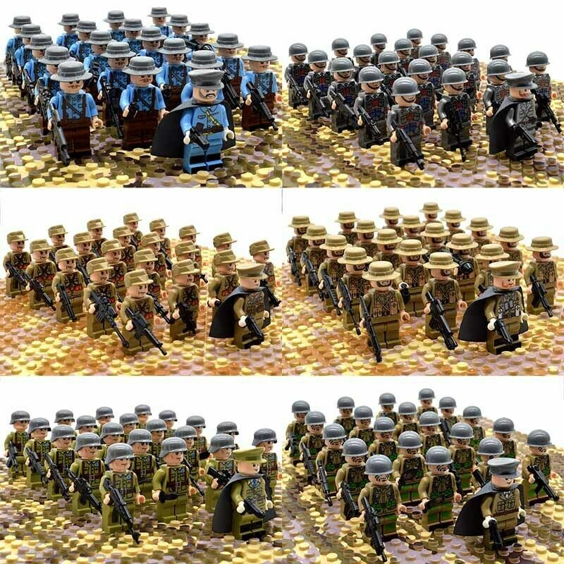 21pcs//set WW2 Army Military Japan Troops Soldiers Infantry Minifigures Block Toy