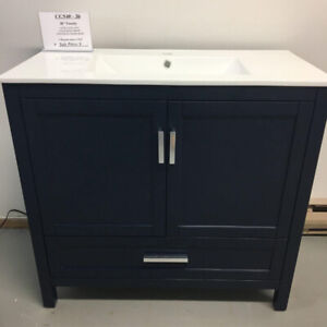 "(24"",30"",36"") Navy Blue & Espresso Wood Vanities"