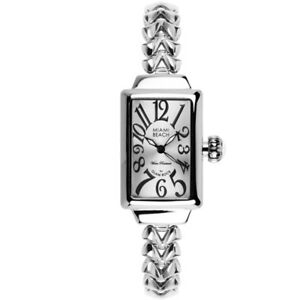 Brand New Glam Rock Miami Beach Art Deco Silver Women Watch