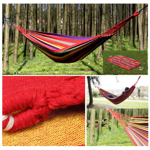 New portable cotton rope outdoor swing fabric camping for Diy canvas hammock