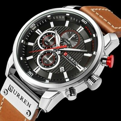 Curren Mens Waterproof Leather Army Military Chronograph Date Quartz Wrist Watch Chronograph Round Wrist Watch