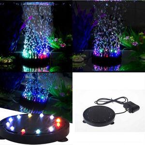 12 LED Light & Air Stone Submersible Bubble for Aquarium Fish Tank Pump Curtain
