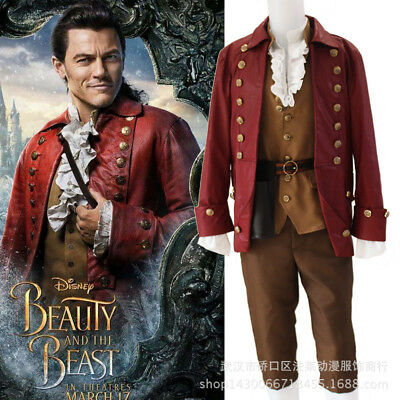 Beauty and the Beast Halloween Gaston Cosplay Costume Adult Jacket Outfits Set
