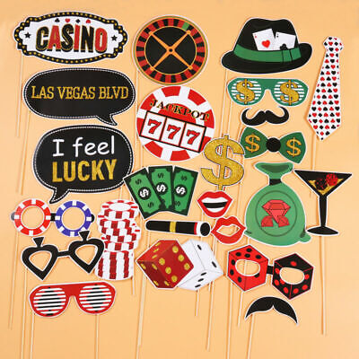 Vegas Party Props (Funny Las Vegas Party Photo Booth Props with Wooden Sticks Party)