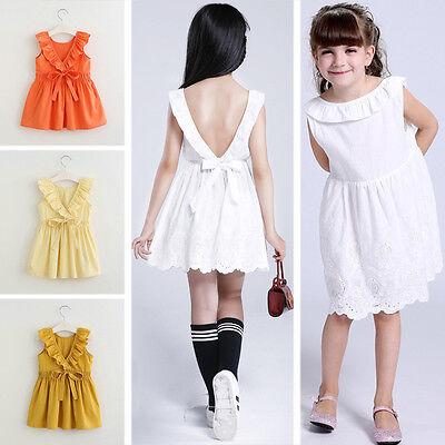 Toddler Kids Baby Girls Party Big Bow Sleeveless Sundress Tutu Dresses Vestido - Big Girl Party Dresses