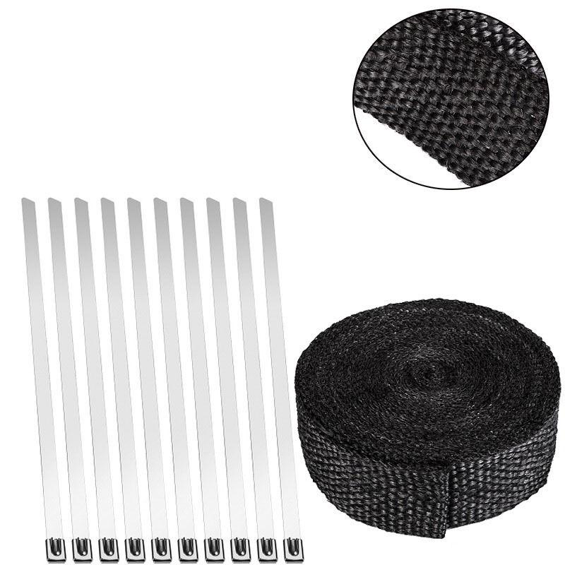 Angebot Hitzeschutzband Auspuffband Auspuff Kr�mmer mit Kabelbinder schwarz 10m x50mm