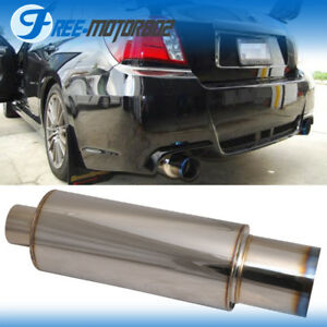 4 inch N1 Style Burn Tip Stainless Steel Racing Exhaust Muffler + Silencer